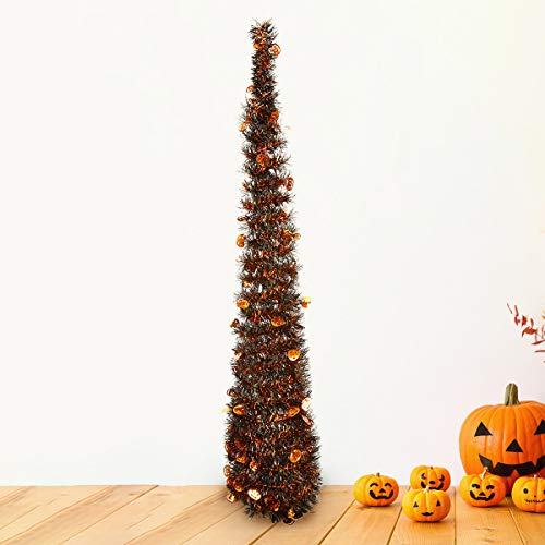 Yayoshow Collapsible Christmas Tree Tinsel Sequins Artificial Christmas Pine Trees Easy Assembly Reusable Halloween Decoration Pop Up Trees with Stand for Home Fireplace Party Decoration 3.5ft (106CM) -
