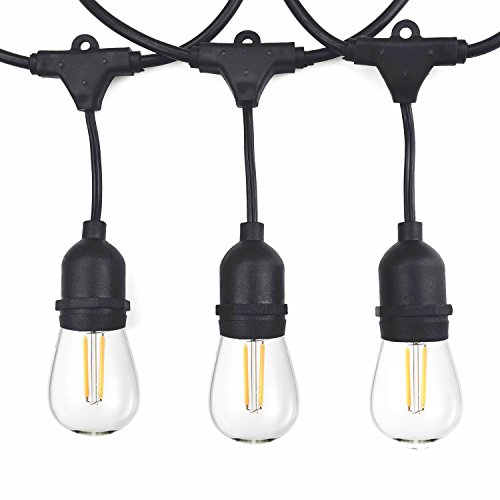 Vintage Outdoor String Lights Kit, 2W S14 LED Filament Bulbs Included, 48Ft Long Garden Patio Edison LED String Lights with 15 Hanging Sockets, Weatherproof Commercial Grade Heavy Duty, UL listed. (Vintage Outdoor Light)
