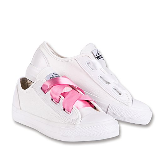 LANTINA Women's Low Top Fashion Sneakers Canvas - Wide Lace White