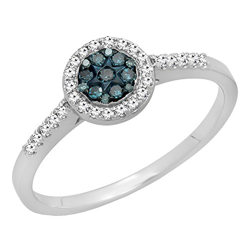 0.25 Carat (ctw) 10K White Gold White & Blue Diamond Cluster Bridal Engagement Ring 1/4 CT (Size (1/4 Carat Diamond Cluster Ring)