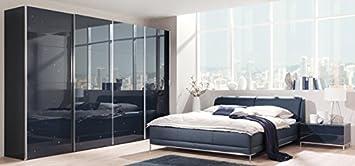 Welle Chiraz Schlafzimmer komplett Hochglanz blau weiß ...
