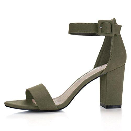 Allegra K Da Donna Con Cinturino Alla Caviglia E Cinturino Alla Caviglia Sandali Color Verde Kaki