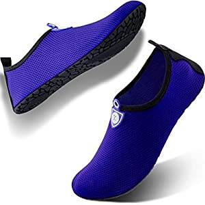 SIMARI Anti Slip Water Shoes for Women Men Summer Outdoor Beach Swim Surf Pool SWS002 dot Blue 8-9