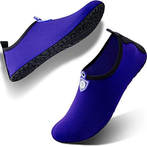 SIMARI Anti Slip Water Shoes for Women Men Summer Outdoor Beach Swim Surf Pool SWS002 dot Blue 8-9