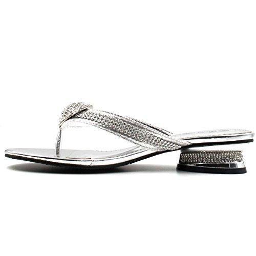 Bella Hanna Women Low Heel Fashion Rhinestones Glitter Bling Open Toe Slip On Thong Ring Rhinestone Memory Foam D02