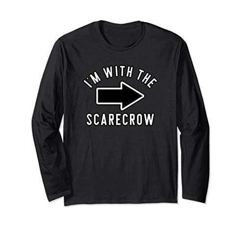 Couples Halloween Costume Shirts I'm With The Scarecrow Long Sleeve T-Shirt