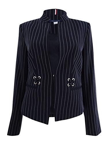 Tommy Hilfiger Womens Pinstripe Grommet Detail Jacket