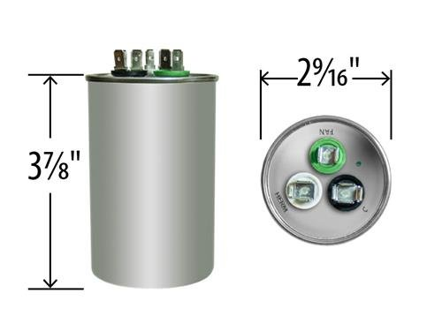 Bryant HC98JA057D • 55 + 7.5 uf / Mfd 370 / 440 VAC AmRad Replacement Round Dual Universal Capacitor • Made in the U.S.A.