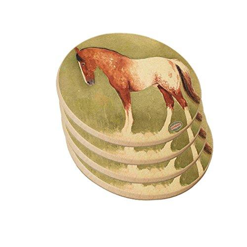 Blanket Appaloosa Horse - Natural Sandstone Drink Coaster Set - Sorrel Blanket Appaloosa Horse Art by Denise Every