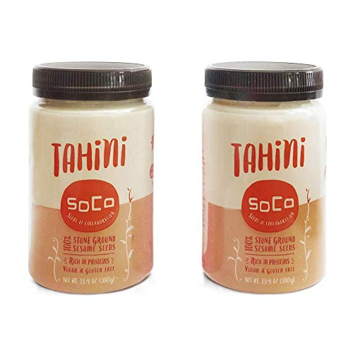 SoCo 100% Pure Gourmet Kosher Tahini Superfood - All Natural, Stone-Ground, Slow-Roasted, Vegan, Paleo, Keto, Gluten-Free, Peanut-Free, 26 Ounces (2 Pack)