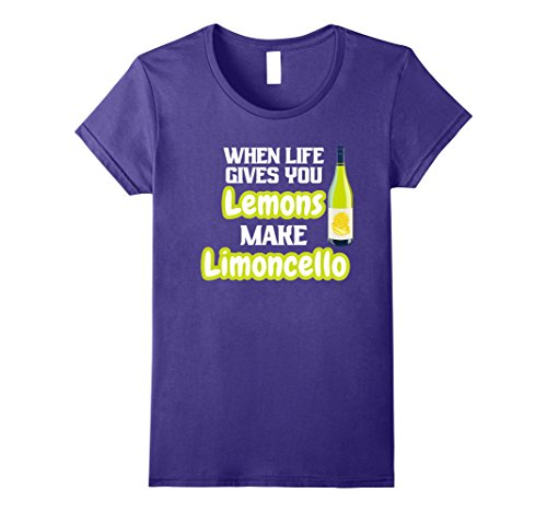 Womens When Life Gives you Lemons Make Limoncello Funny Shirt XL Purple