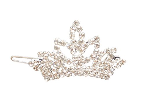 PET SHOW Crown Bling Clear Crystal Rhinestone Girls Pet Cat Dog Frog Hair Clips Grooming Accessories Pack of 1