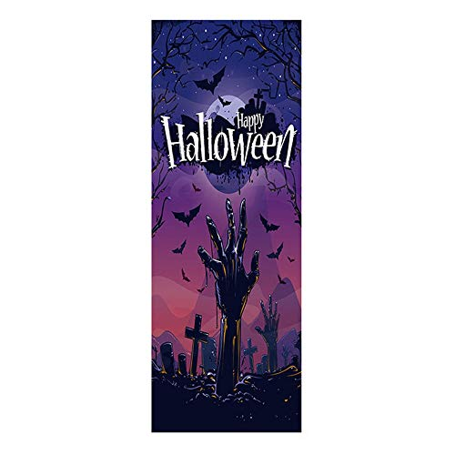 Minions Halloween Wallpaper (Halloween Door Sticker Creepy Ghost Hand Tomb Cemetery Wallpaper Murals Self-Adhesive Removable Vinyl Stickers Wall Decal DIY Haunted House Poster Party Supplies 30.3x78.8)