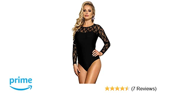 4f7b5a0b37e Dionasi Women Sheer Mesh Lace Bodysuit Long Sleeve Leotard Lingerie Jumpsuit  Bodysuits(FBA) at Amazon Women s Clothing store