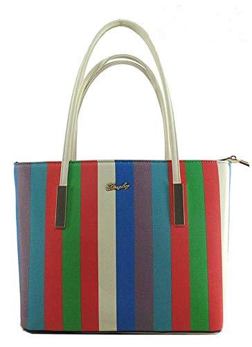 Lady Women Handbags Wallets Sets Striped Leather Satchel Purses Shoulder Tote Shopper Bucket Bags