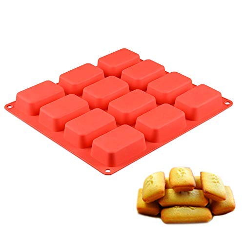 ECHODONE 12 Cavities Rectangle Soap Mold DIY Handmade Silicone Mold for Soap Making Candle Cake Baking Lotion Bar Molds