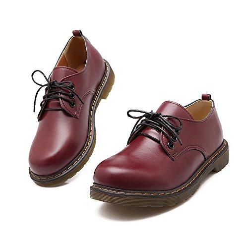 AllhqFashion Womens Blend Materials Low-Heels Lace-Up Round-Toe Pumps-Shoes Claret q63OH4P9