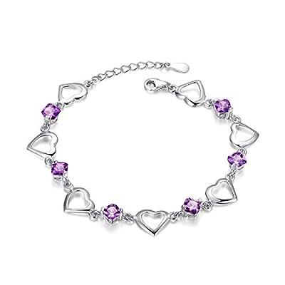 Sterling Silver Cushion Amethyst Heart Link Bracelet (BSHC1007SVR_AMT)
