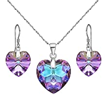 """EleQueen 925 Sterling Silver """"Heart of Ocean"""" Bridal Necklace Earrings Set Adorned with Swarovski® Crystals"""