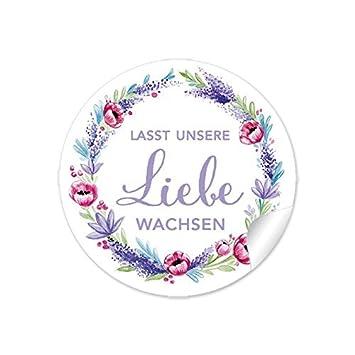 3er Set 3 Bögen A 24 Sticker 72 Aufkleberlasst Unsere Liebe Wachsen In Lila Rot Grün Mit Lavendel Und Mohnblume Zur Hochzeit Für Kleine