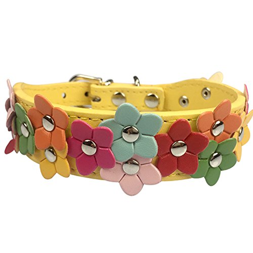 Luciphia Cute Leather Dog Collar with Adorable Flowers Yellow S (Dog Collar Yellow Leather)