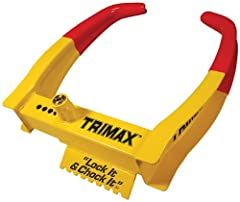 TRIMAX WHEEL CHOCK LOCK quickly and easily attaches to any wheel eliminating the ability to tow or drive away. Universal design fits any wheel. Unique design chocks the wheel while installed to keep from rolling