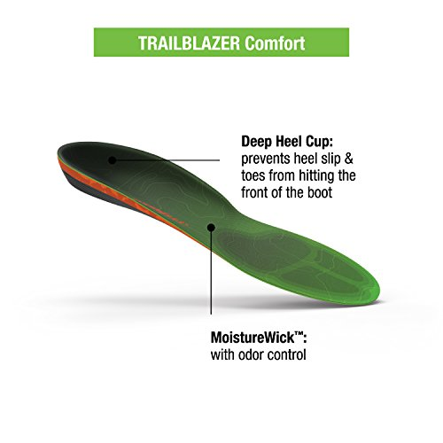 Superfeet Trailblazer Comfort Insoles for Carbon Fiber Orthotic Support and Cushion in Hiking Boots and Trail Shoes, Pine, F: 12+ US Womens / 11.5-13 US Mens by Superfeet (Image #2)
