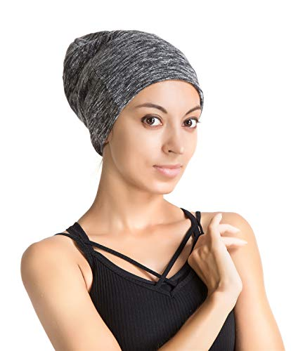 - Slap Night Cap Sleep Hat - Blue White Women Organic Bamboo Cotton Satin Silk Satun Satin Lined Bonnet Slouchy Summer Scarf Hair Cover Beanie for Women Men Lady Lightweight Light Thin Jersey Chemo...