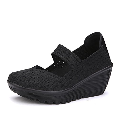 1b3469e6496b79 chic HKR Women Closed Toe Woven Platform Wedges Mary Jane Sandals Comfort  Weave Shoes