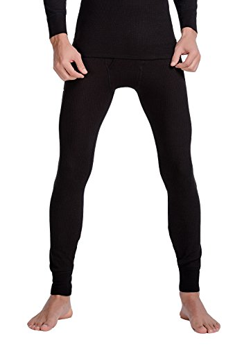 CYZ Men's Thermal Pants Long John Bottoms-Black-XL (Heavy Thermal Underwear Men)