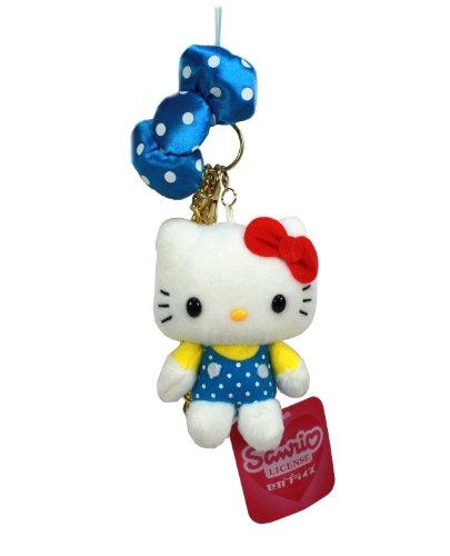 Sanrio Hello Kitty Plush Strap w/Metal Charm - Polka Dot Blue Ribbon -