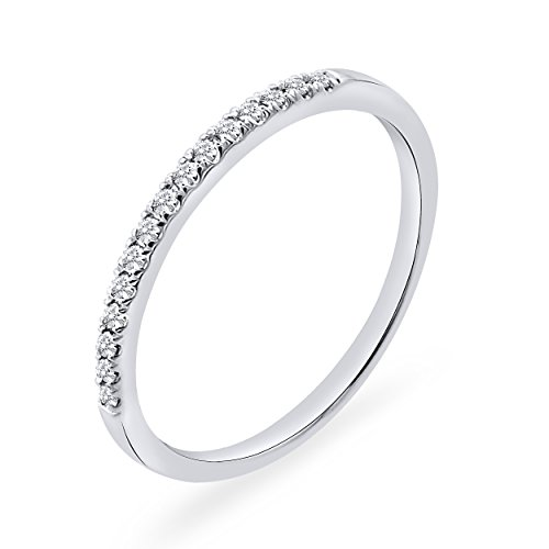 0.10 CT. Round Natural Diamond Wedding Band 10K White Gold For Women (Band Single Diamond Wedding)