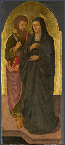 Oil Painting 'Zanobi Machiavelli-Saint Bartholomew And Saint Monica,1470' Printing On High Quality Polyster Canvas , 8x18 Inch / 20x45 Cm ,the Best Game Room Artwork And Home Gallery Art And Gifts Is This Best Price Art Decorative Prints On Canvas (Vitamins Tablet Universal)