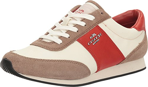 COACH Women's Raylen Chalk/Stone Nylon/Suede Oxford