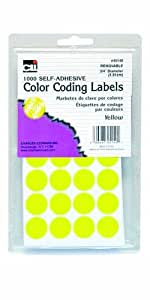 Charles Leonard Inc. Labels with Color Coding Dots, 0.75 Inch Diameter, Yellow, 1000 per Box (45140)