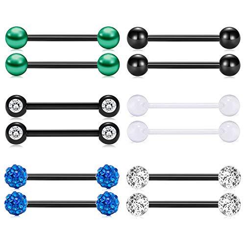 (FECTAS 14G Tongue Rings or Nipple Rings Stainless Steel Black Straight Piercing Barbells 1/2