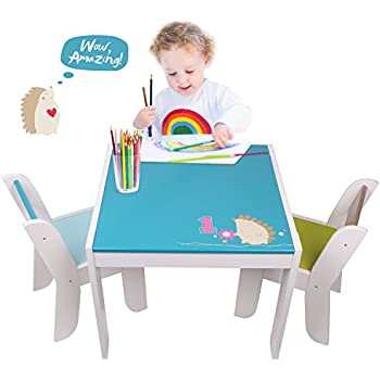 amazon com labebe wooden activity table chair set blue hedgehog