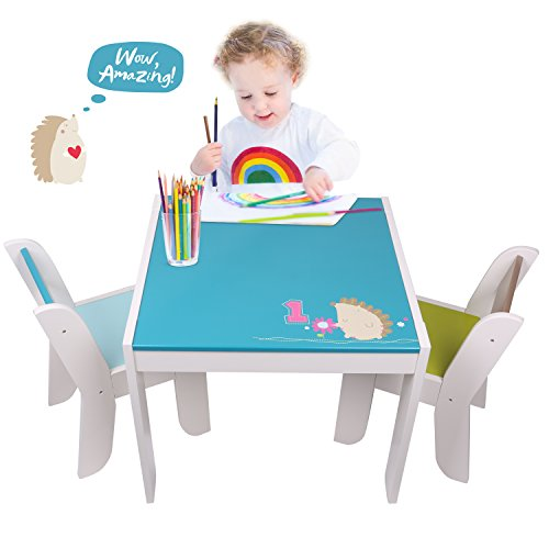 Labebe Wooden Activity Table Chair Set, Blue Hedgehog Table for 1-5 Years, Baby Table Toy/Table Baby/Room Table/Learning Table Cover/Kid Bedroom Furniture/Child Furniture Set/Kid Desk Chair by labebe