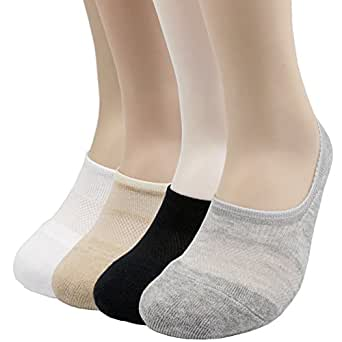 Pro Mountain No Show Toe Cushion Athletic Cotton Footies Sneakers Sports Socks (M(US Women Shoe 7.5~9.5 = Men 6.5~8.5, size10 Unisex), 4color assorted 4pairs Pack M-size)