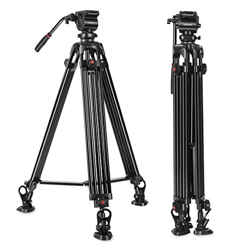 Heavy Duty Video Tripod, ASHANKS 74 Inch Professional Fluid Head Camera Tripod, Twin Tube Aluminium Tripod Max Loading 15.4Lb Bonus Quick Release Plate, Carrying Bag