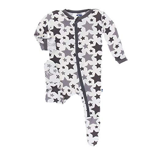 (Kickee Pants Little Boys and Girls Essentials Print Footie with Zipper - Feather/Rain Stars, Newborn)