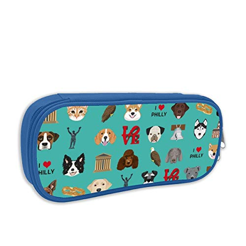 a449fd475 Philadelphia Dogs - Dogs and Philly Print - Turquoise_722 Pencil Case, Big  Capacity Pen Bag