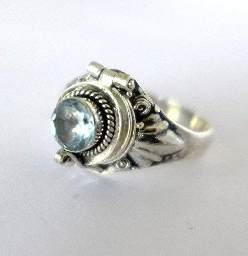 - Poison Ring Bali Sterling Silver Locket Ring Sky Blue Topaz December (sub March Aquamarine) birthstone AR11