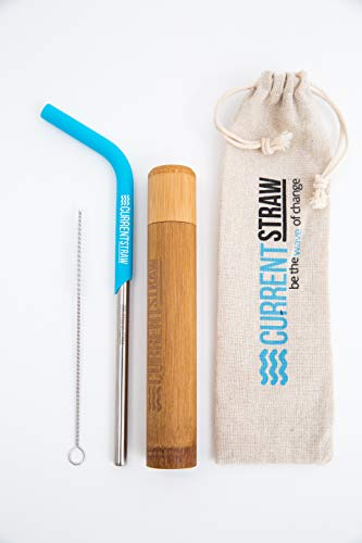 CurrentStraw - Single Pack - Eco-Friendly Reusable, Premium Stainless Steel Metal Drinking Straw with Custom Silicone Tip | Handcrafted Bamboo Travel Case & Stylish Pouch | Zero Waste | by CurrentStraw (Image #4)