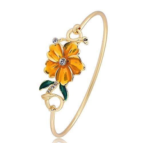 GUANDU Dainty Yellow Enamel Flower Leaves Rhinestone Bangle Bracelet for Women (Gold) (Yellow Enamel Bangle)