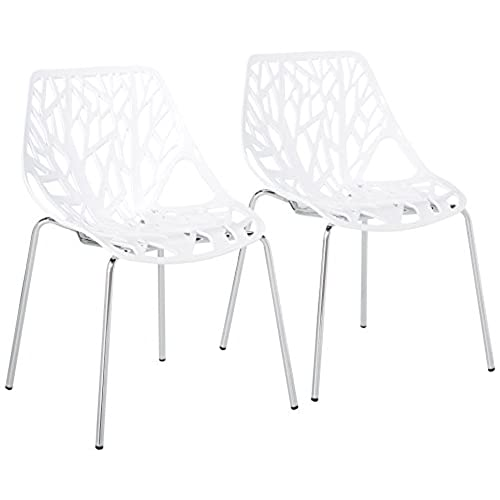 UrbanMod Modern Dining Chairs (Set Of 2) By, White Chairs, KID FRIENDLY  Birch Chairs, Stackable Modern Chair, Mid Century Dining Chair