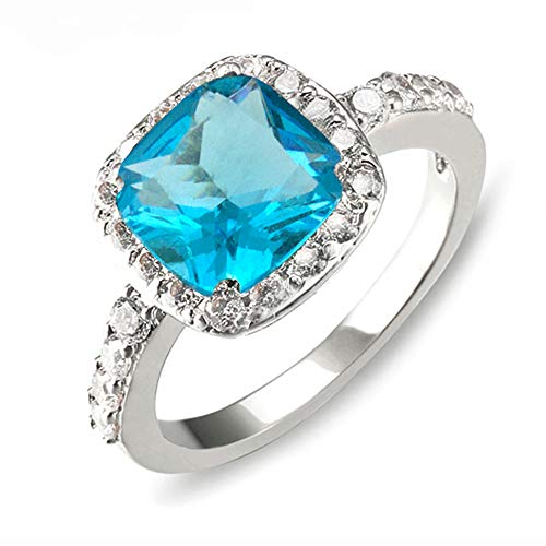 Impression Collection Square Rings Wedding Party Statement CZ Cocktails Gold Plated Classic Fashion Size 4-12 (Aqua Blue, ()