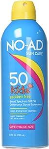 NO-AD Kids Sunscreen Spray SPF 50, 10 Oz