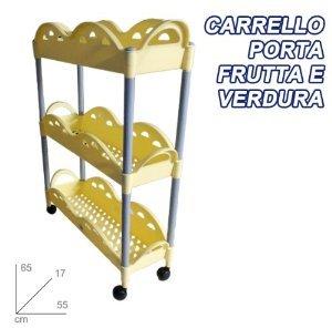 CARRO DE VERDURAS FRUTAS 3 estantes de la cocina PLÁSTICO RUEDAS AMARILLO: Amazon.es: Electrónica