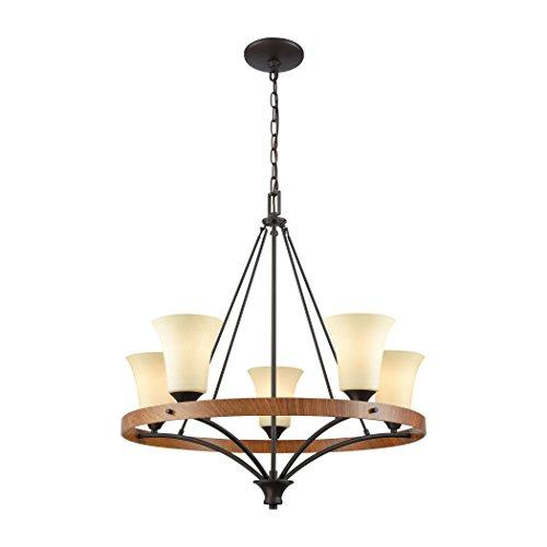 Elk Lighting CN160521 Park City 5 Oil Rubbed Bronze, Wood Grain and Light Beige Scavo Glass Chandelier